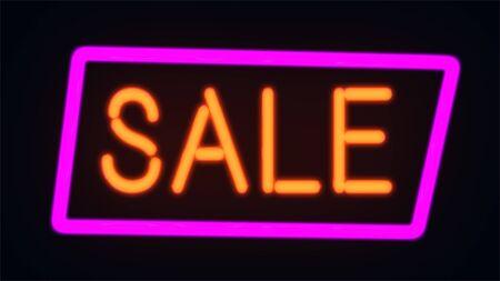 Retro sale neon sign. Super sale minimalistic banner with light effect. Special offer. Big sale. Archivio Fotografico