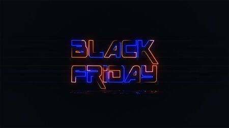 Black Friday background. Neon sign. Black friday neon light banner. Concept of sale, clearance and discount.