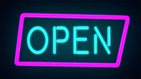Neon sign with text open, entrance is available. Open Neon Sign
