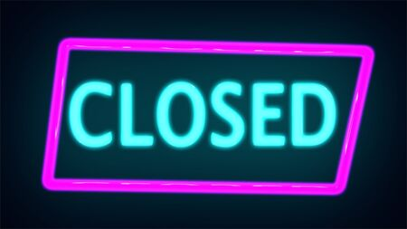 Glowing neon Closed sign , Neon light linear promotion banner, price tag, discount. Realistic neon inscription. Glowing font.