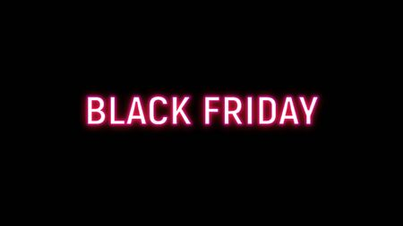 Black Friday Sale neon sign. Long horizontal light banner. For art template design, list, page, mockup brochure style, banner, idea, cover, booklet, print Фото со стока