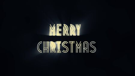Merry Christmas of 2020. Xmas greeting sign. Merry Christmas neon light isolated on black background. Xmas calligraphic text. Postcard, banner design element. Фото со стока