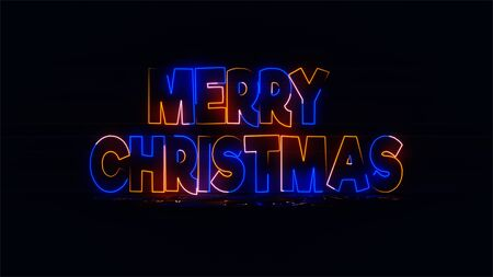 Merry Christmas text. Glowing lettering sign for Xmas. Xmas card.