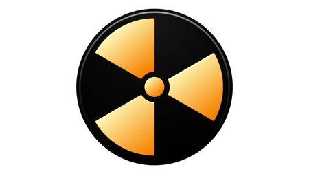 Radiation sign. Danger warning circle yellow sign, toxic symbols