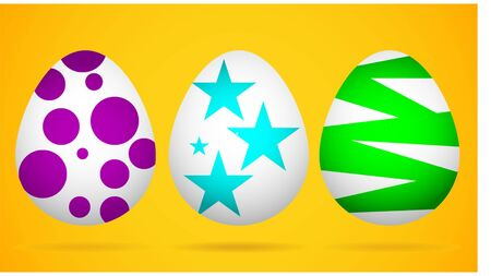 Happy Easter.Set of Easter eggs with different texture.Spring holiday.Happy easter eggs