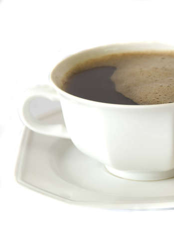 stimuli: close up on a perfect freshly made coffee, isolated on white, space for text Stock Photo