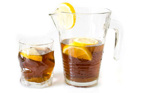 freshly made ice lemon tea, isolated on white Stock Photo - 6526565