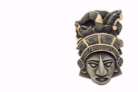 mayan mask, isolated on white, copy space photo