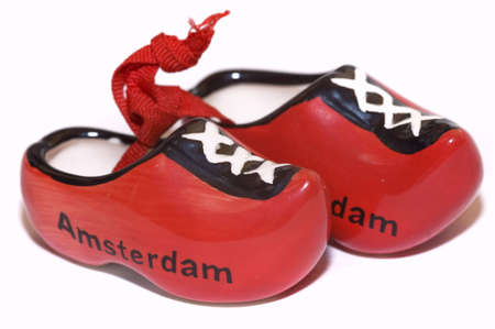 pair of red raditional holland shoes, isolated on white Banco de Imagens