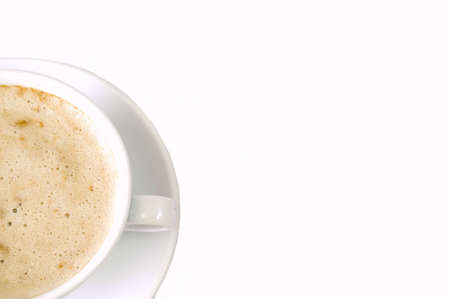 capuccino: clean white background with capuccino cup left, isolated, copy space