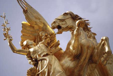 close up on a golden statue in paris, on one of the famous bridges Banco de Imagens