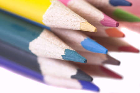 color pencils tied together, isolated on white background Stock Photo