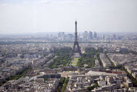 aerial view of paris, france with the eiffel tower in the center photo