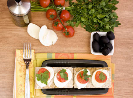 indulgent: indulgent italian appetizer, mozzarella and tomatoes