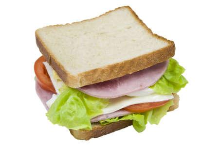 turkey ham sandwich, isolated on white
