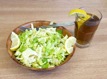 fresh lettuce salad with lemon