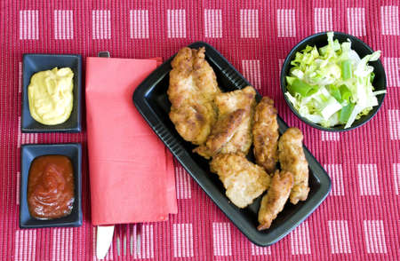 fried chicken and light salad lunch