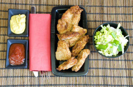 suppertime: chicken fingers and light salad for lunch