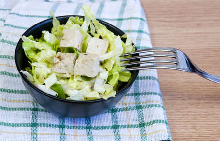 lettuce salad with tofu cheese