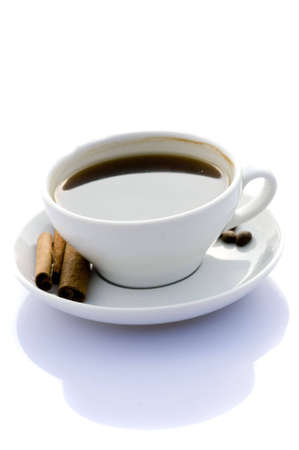 delicious freshly made coffee, reflected on a white background Banco de Imagens