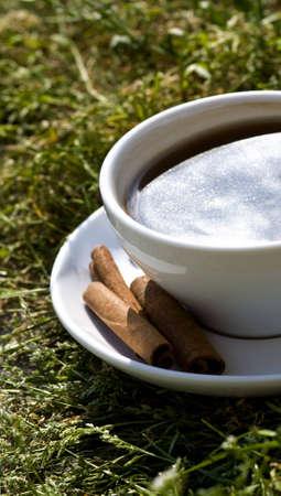im taking my yummy coffee to the garden
