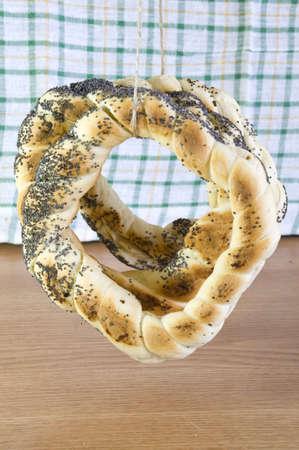 freshly baked bavarian poppy pretzels Stock Photo