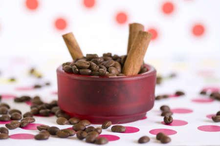 cinnamon and coffee setup Banco de Imagens