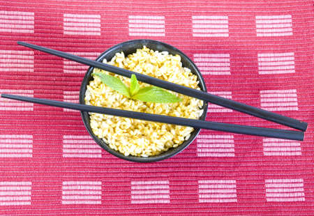 curry rice bowl with chopsticks