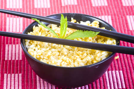 rice curry bowl with chopsticks Stock Photo
