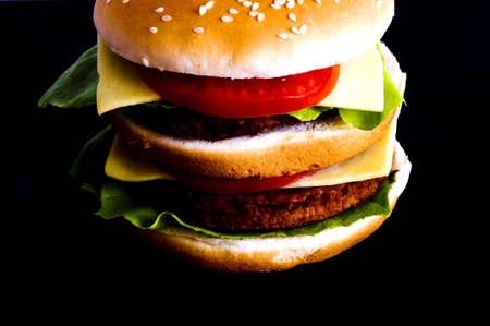 burger on black background Banco de Imagens