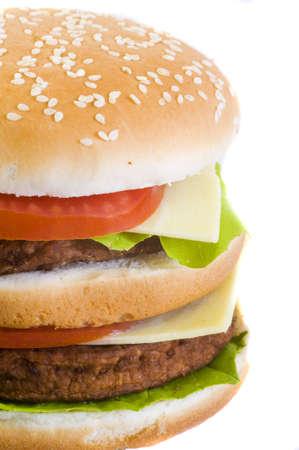 closeup on a huge double cheeseburger Stock Photo