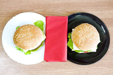 fast food lunch for two Stock Photo