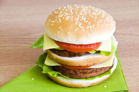 freshly made double hamburger Stock Photo