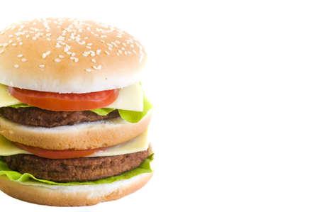 big double cheeseburger on white