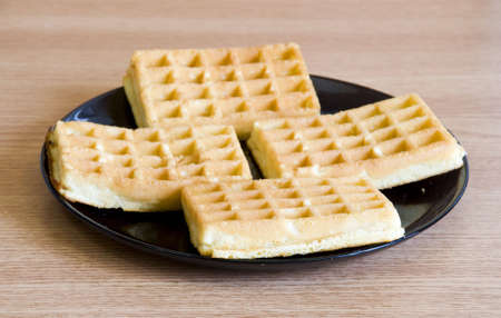 making waffles for breakfast Stock Photo