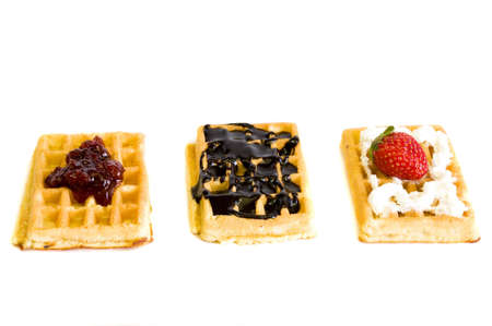 yummy delicious homemade waffles, on white background Banco de Imagens