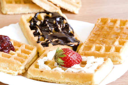 homemade dessert-various types of yummy waffles Stock Photo - 6904378