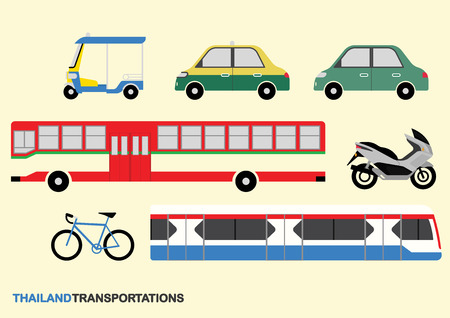 Thailand Transportation Collection Info Graphic Vector Illustration