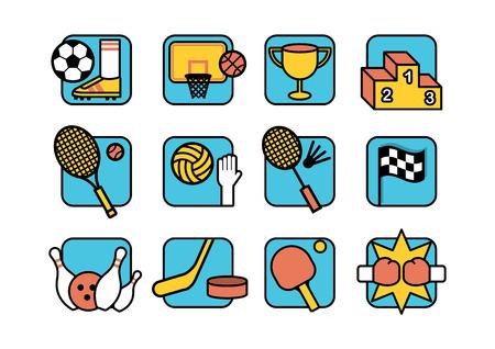 Ensemble d'icônes de couleurs sportives avec contour noir Banque d'images - 85806146