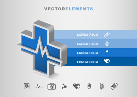 Hospital Healthcare  3D Vector Infographic Diagram Template Concept with Icons Illustration
