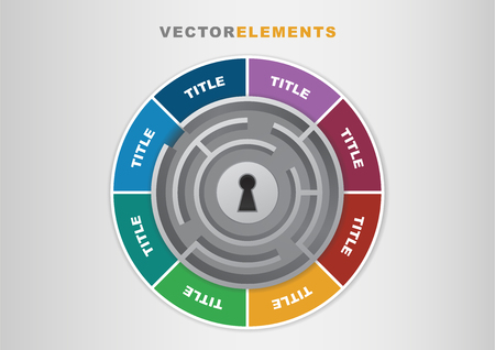 3D Vector Infographic Template Key to Success with Maze and Keyhole