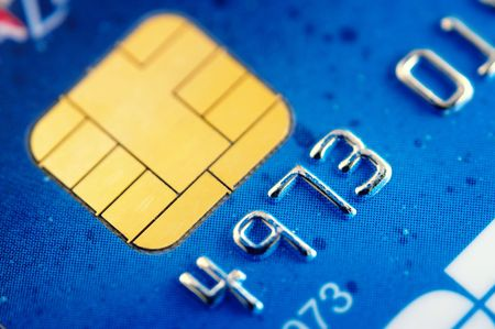 business transaction: Smart card super macro , credit card chip