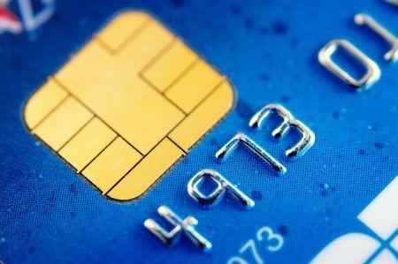 cr�dito: Tarjeta inteligente super macro, chip de la tarjeta de cr�dito