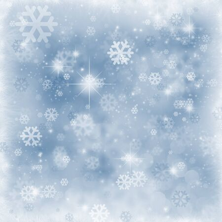Winter background , snowflakes and sparkles , copyspace Stock Photo
