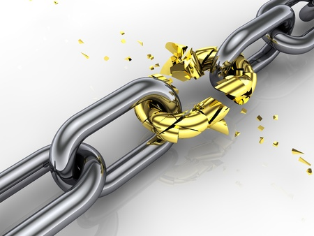 3d chain , shattered link , weakest link ,breaking free