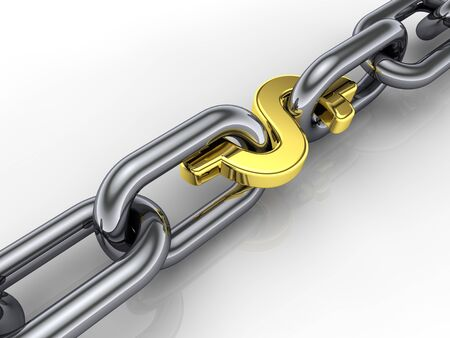 3d chain,golden dollar sign link ,group cohesiveness Stock Photo - 8955166