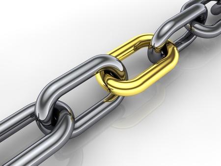 cadenas: enlace de cadena, oro 3D, concepto de cohesi�n de grupo