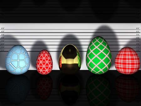 Multicolored easter eggs in a police lineup Stock Photo - 9079747