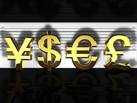 currency exchange:  Forex currencies in a police lineup , financial fraud and speculation Stock Photo