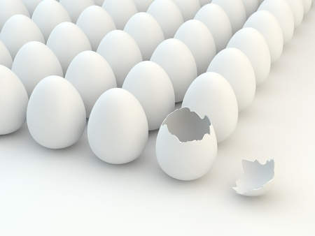 eggshells: Broken eggshell,multiple white eggs Stock Photo